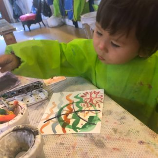 Toddler Creating Art