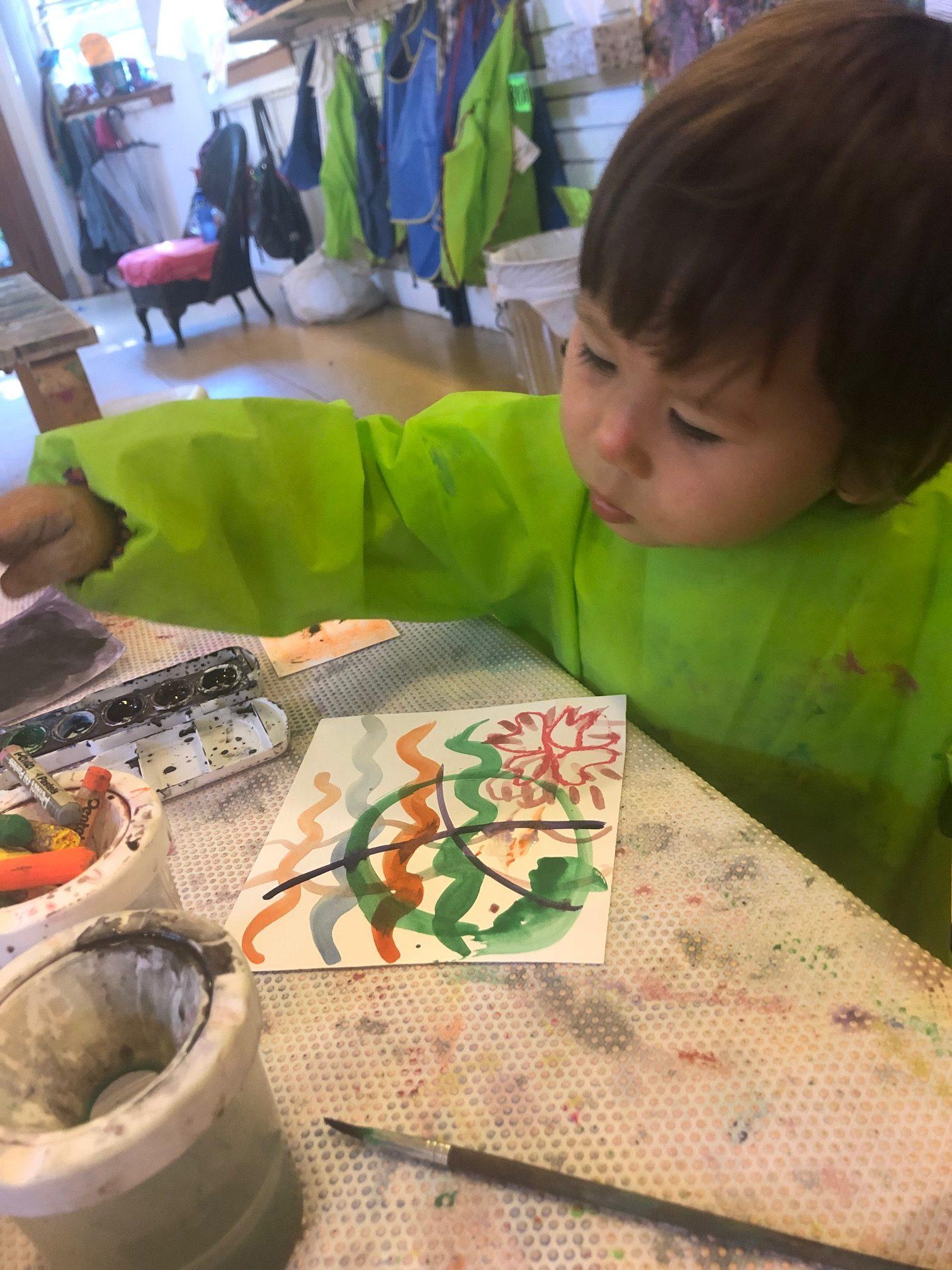 Toddler Creating Art