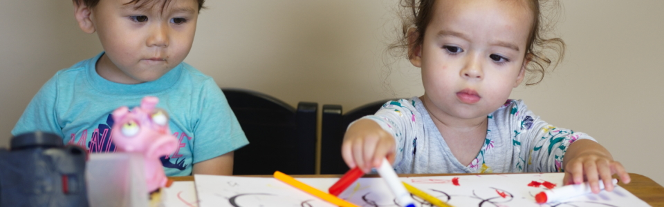 Two Toddlers Create Art Together at our Open House